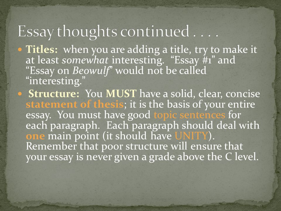 Essay thoughts continued . . . .