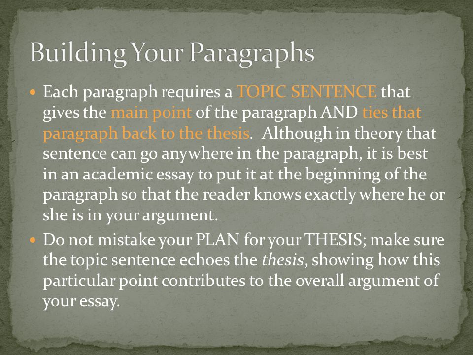 Building Your Paragraphs
