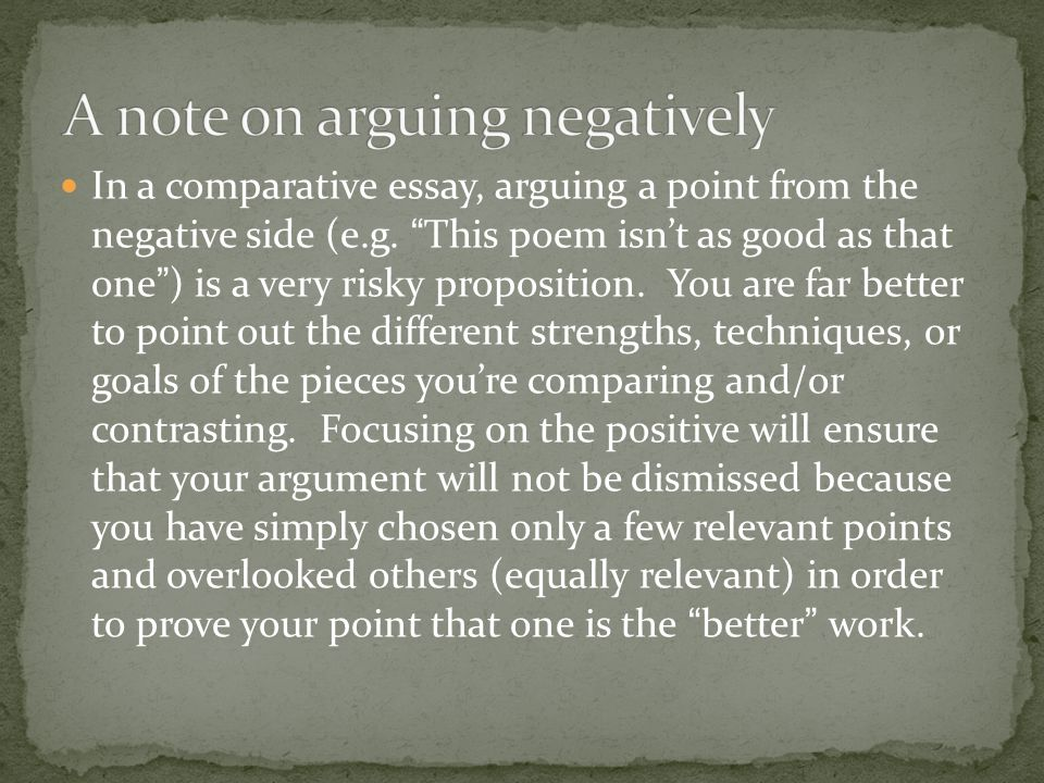 A note on arguing negatively