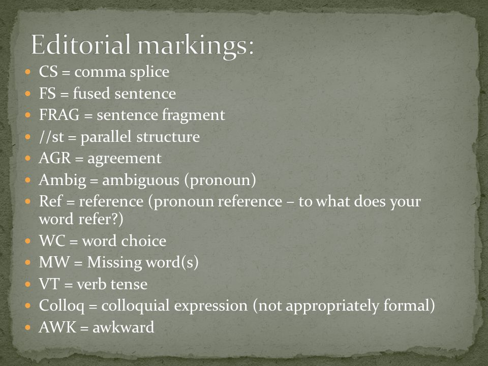 Editorial markings: CS = comma splice FS = fused sentence
