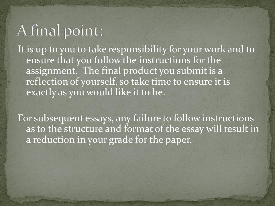 A final point: