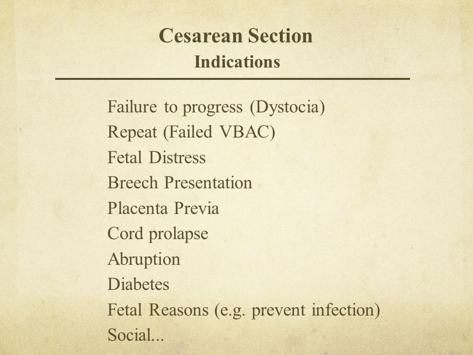 Cesarean Section Indications Failure to progress (Dystocia)