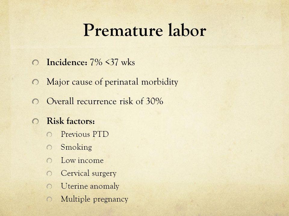 Premature labor Incidence: 7% <37 wks
