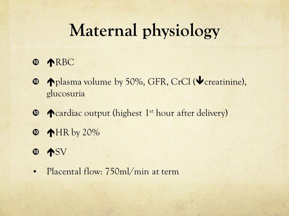Maternal physiology RBC