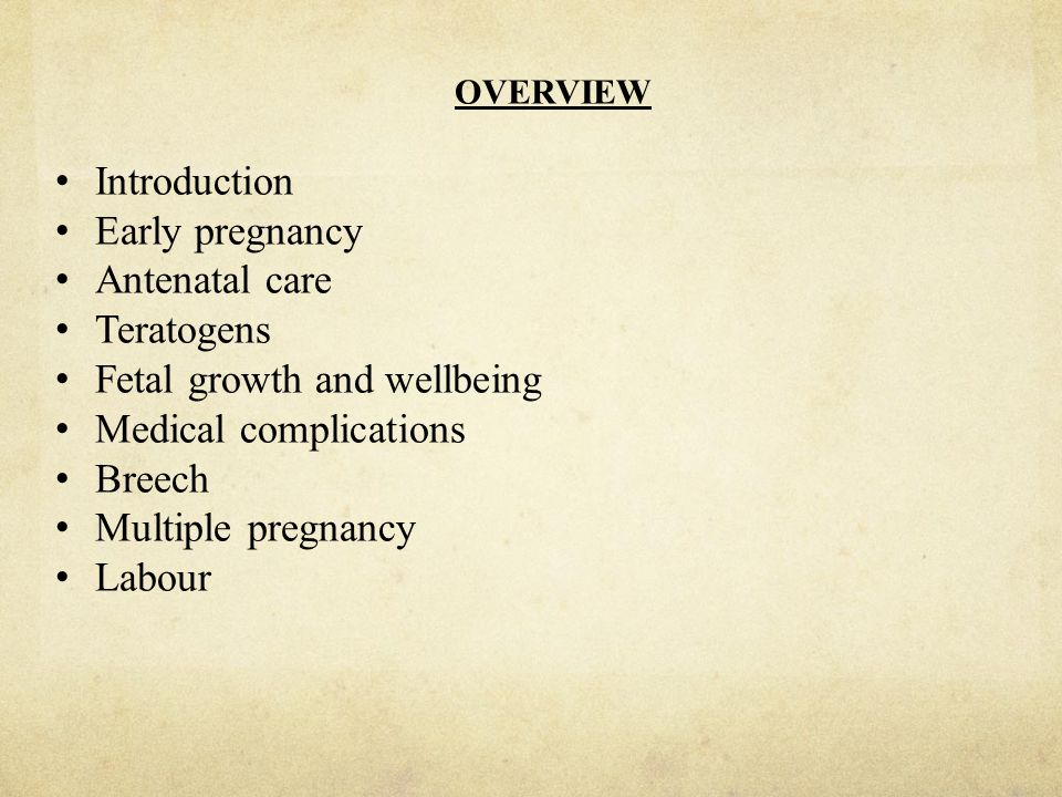 Fetal growth and wellbeing Medical complications Breech