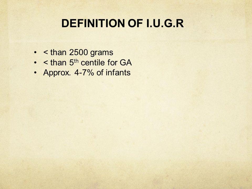 DEFINITION OF I.U.G.R < than 2500 grams