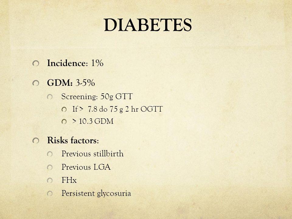DIABETES Incidence: 1% GDM: 3-5% Risks factors: Screening: 50g GTT