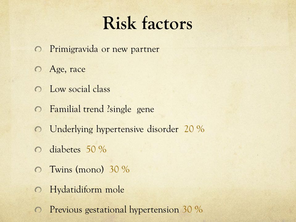 Risk factors Primigravida or new partner Age, race Low social class