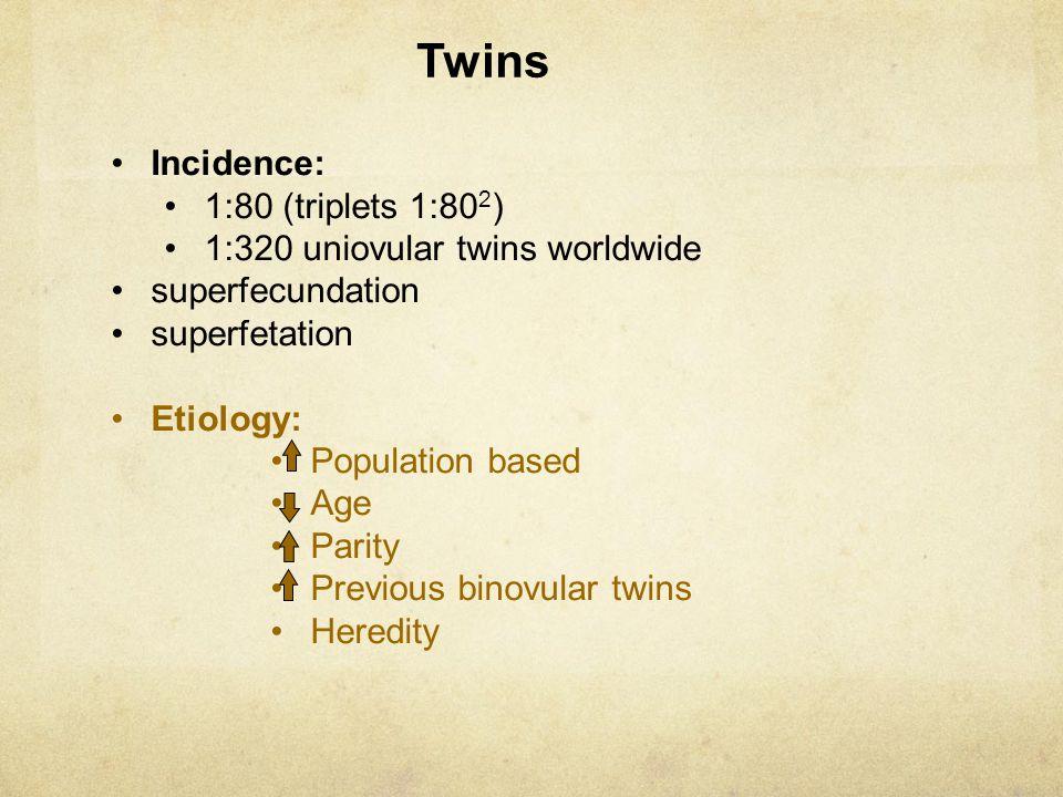 Twins Incidence: 1:80 (triplets 1:802) 1:320 uniovular twins worldwide