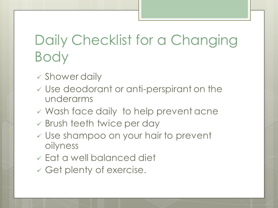 Daily Checklist for a Changing Body