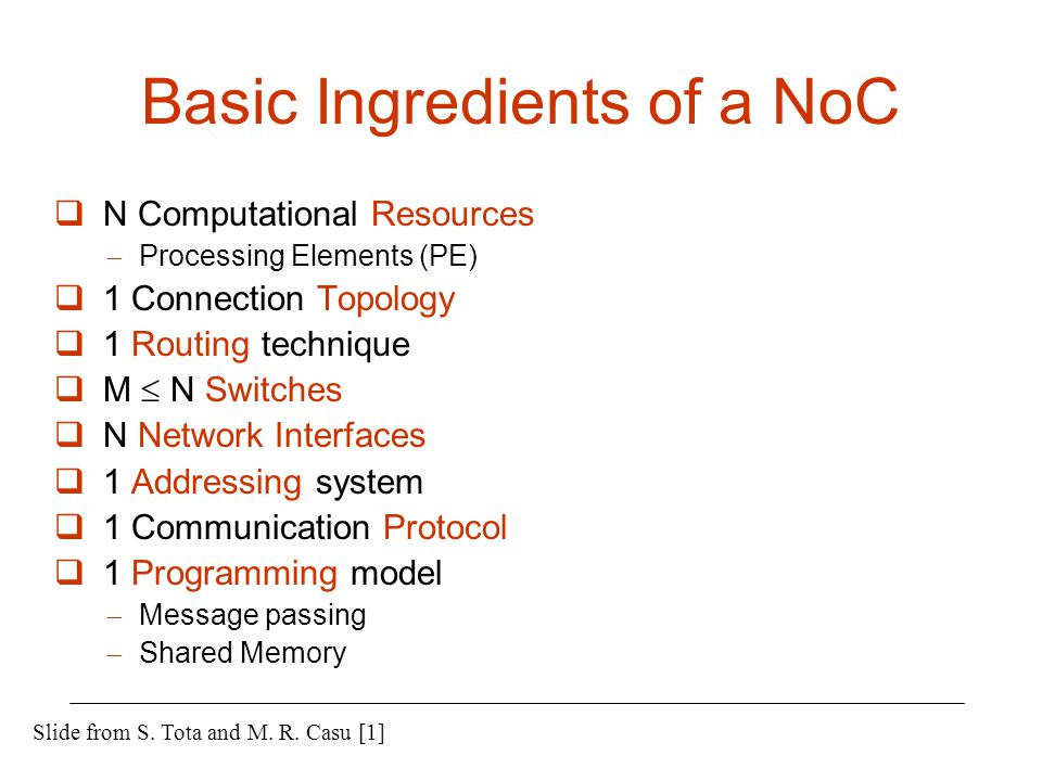 Basic Ingredients of a NoC