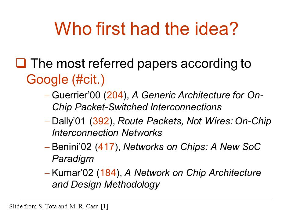 Who first had the idea The most referred papers according to Google (#cit.)