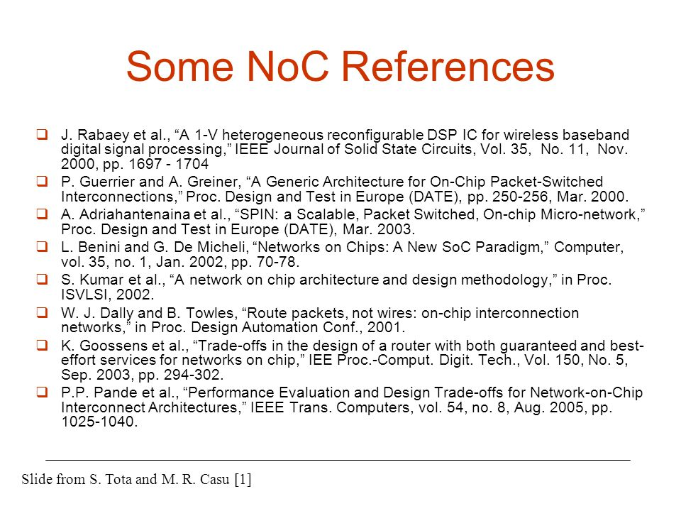 Some NoC References