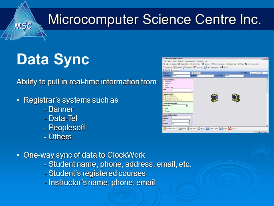 Data Sync Ability to pull in real-time information from