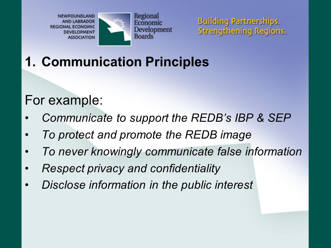 Communication Principles For example: