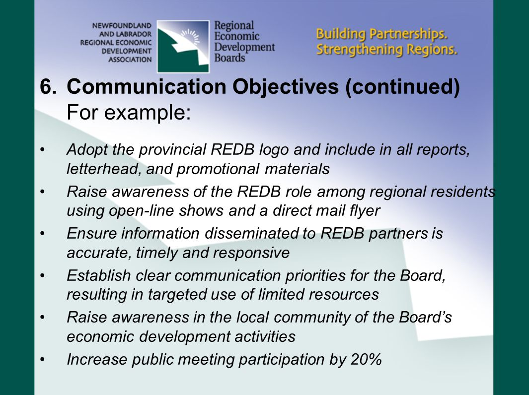 Communication Objectives (continued) For example:
