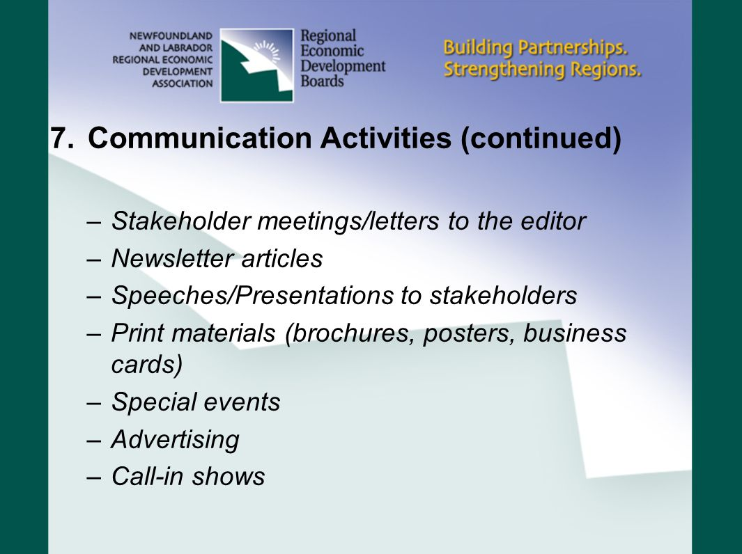 Communication Activities (continued)