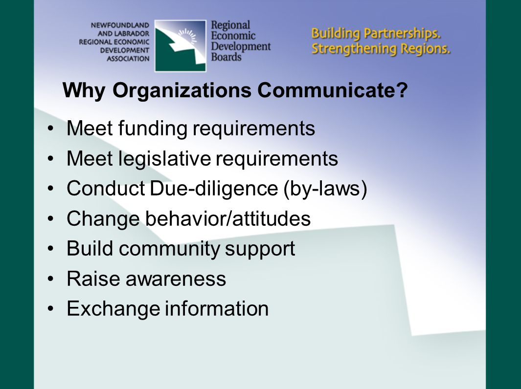 Why Organizations Communicate