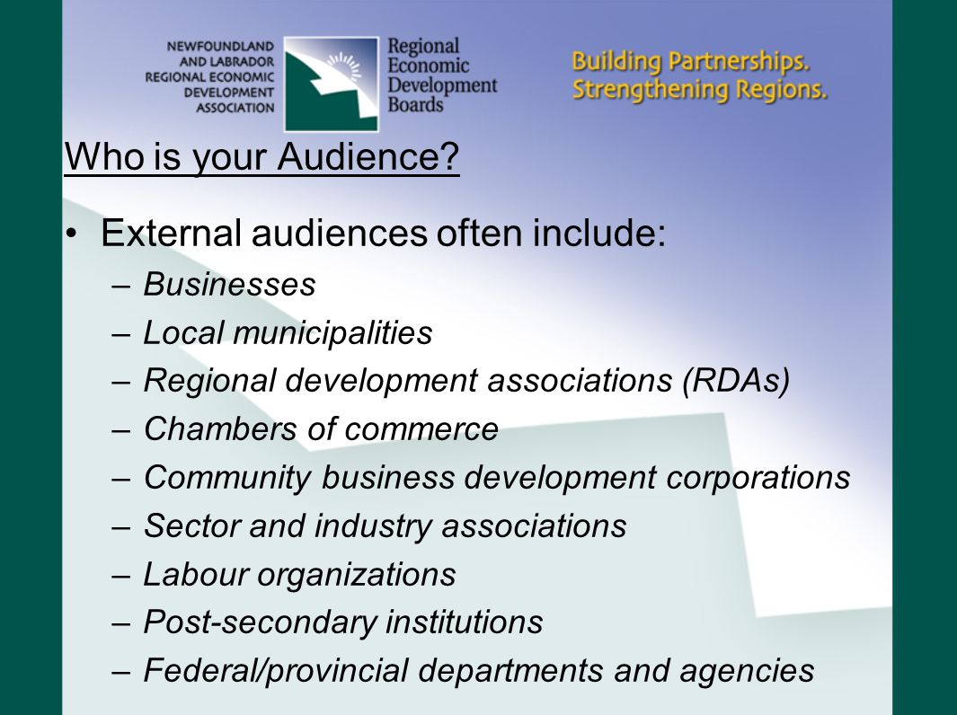 External audiences often include: