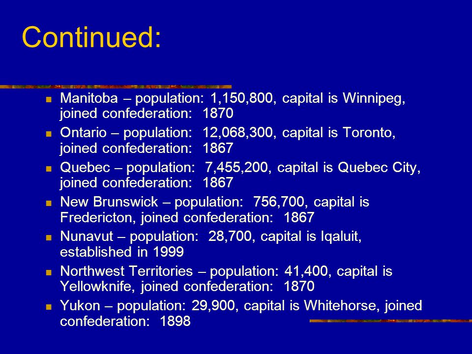 Continued: Manitoba – population: 1,150,800, capital is Winnipeg, joined confederation: 1870.