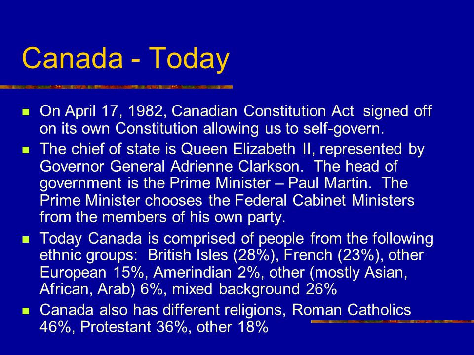 Canada - Today On April 17, 1982, Canadian Constitution Act signed off on its own Constitution allowing us to self-govern.