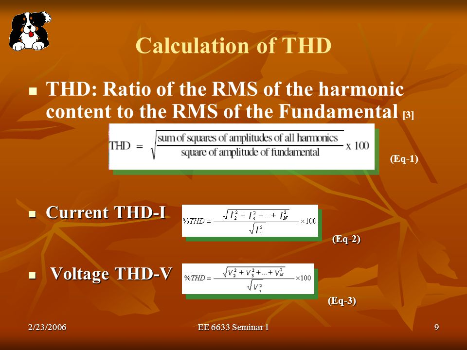 Calculation of THD (Eq-1)