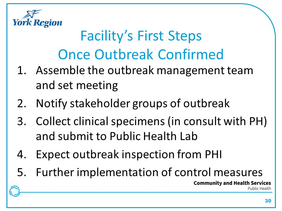 Facility's First Steps Once Outbreak Confirmed
