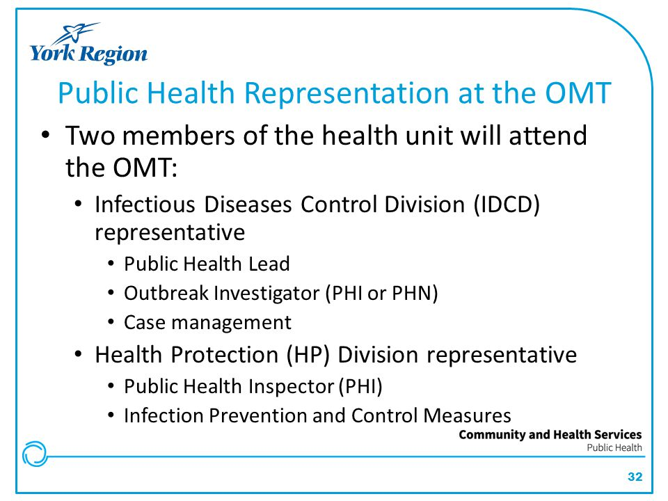 Public Health Representation at the OMT