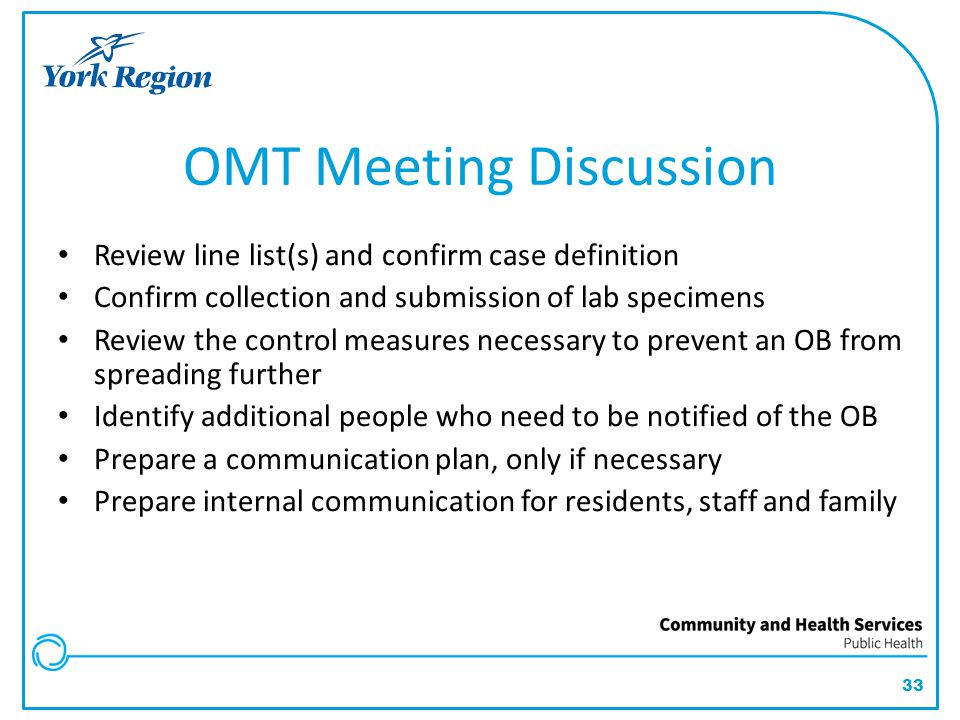 OMT Meeting Discussion