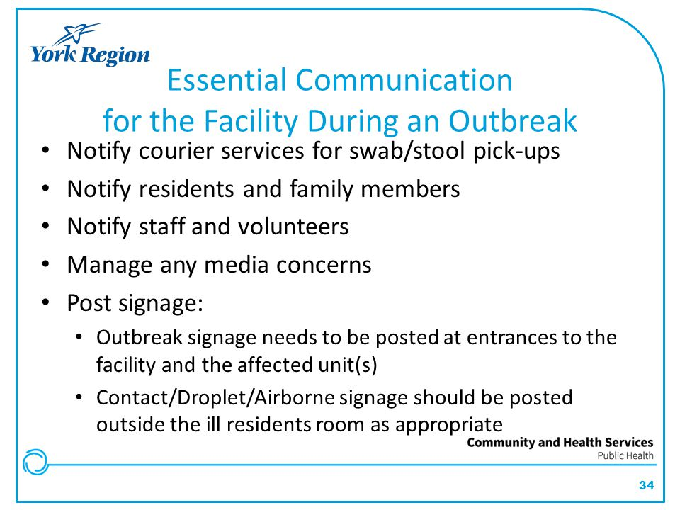 Essential Communication for the Facility During an Outbreak