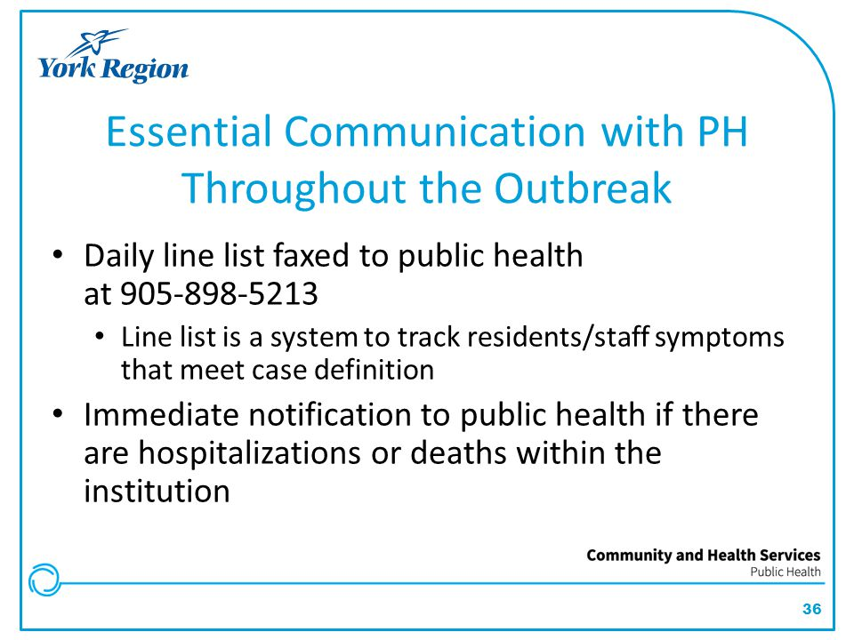 Essential Communication with PH Throughout the Outbreak