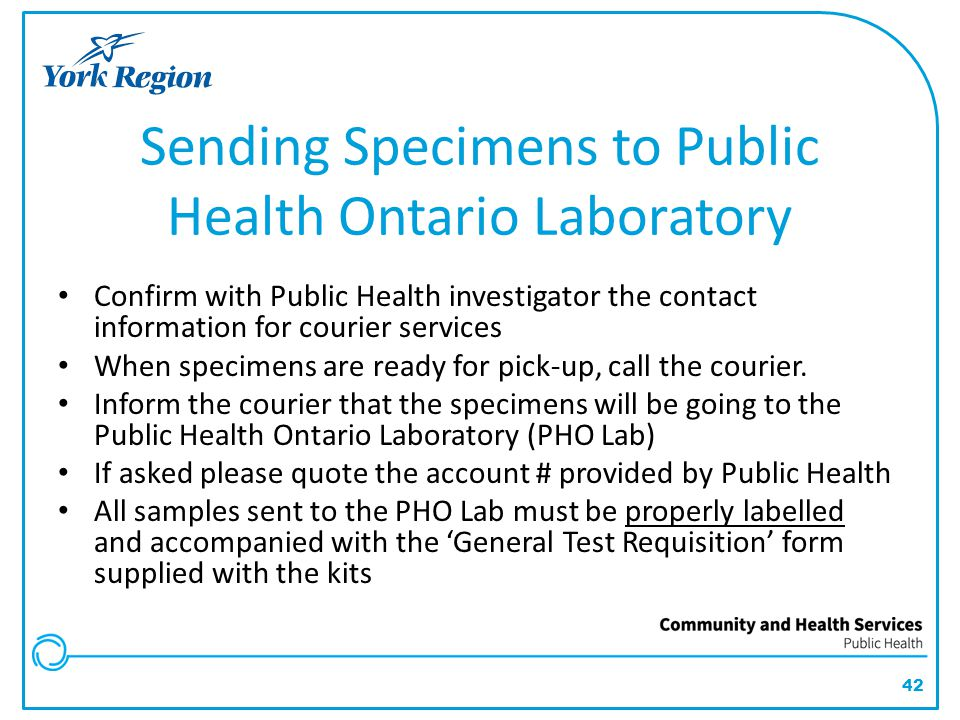 Sending Specimens to Public Health Ontario Laboratory