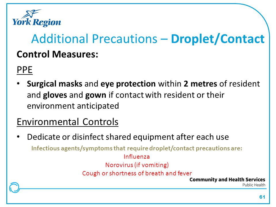 Additional Precautions – Droplet/Contact