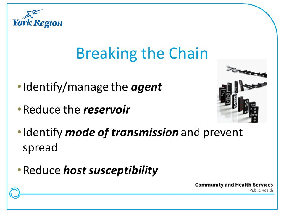 Breaking the Chain Identify/manage the agent Reduce the reservoir