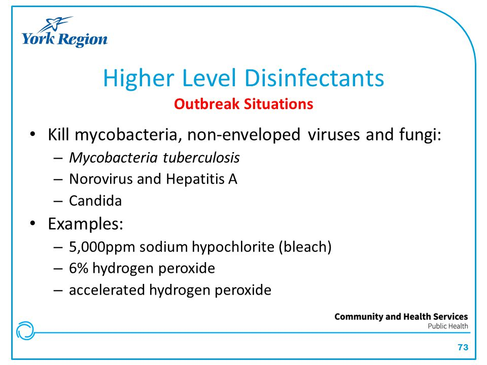 Higher Level Disinfectants Outbreak Situations