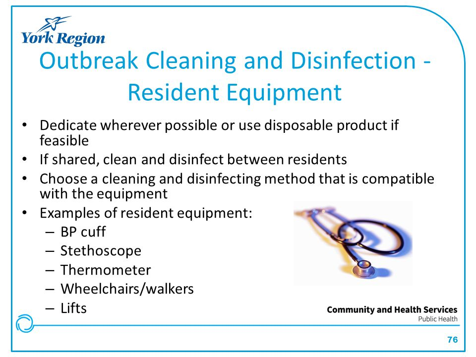 Outbreak Cleaning and Disinfection - Resident Equipment