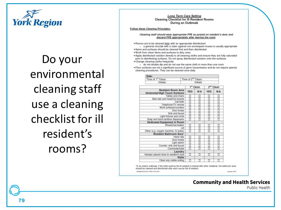 Do your environmental cleaning staff use a cleaning checklist for ill resident's rooms