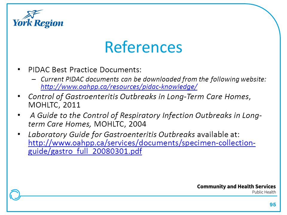 References PIDAC Best Practice Documents: