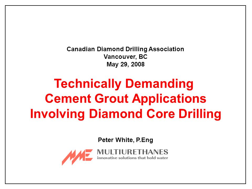 Technically Demanding Cement Grout Applications