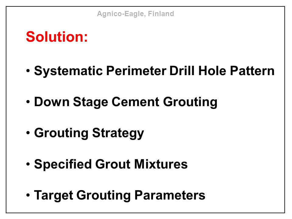 Solution: Systematic Perimeter Drill Hole Pattern