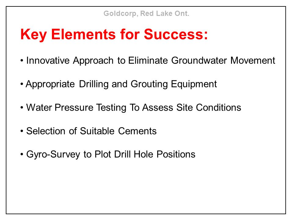 Key Elements for Success: