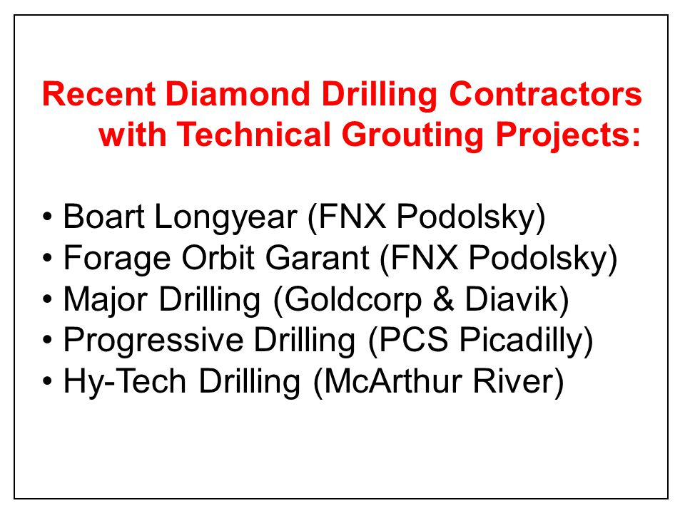 Recent Diamond Drilling Contractors