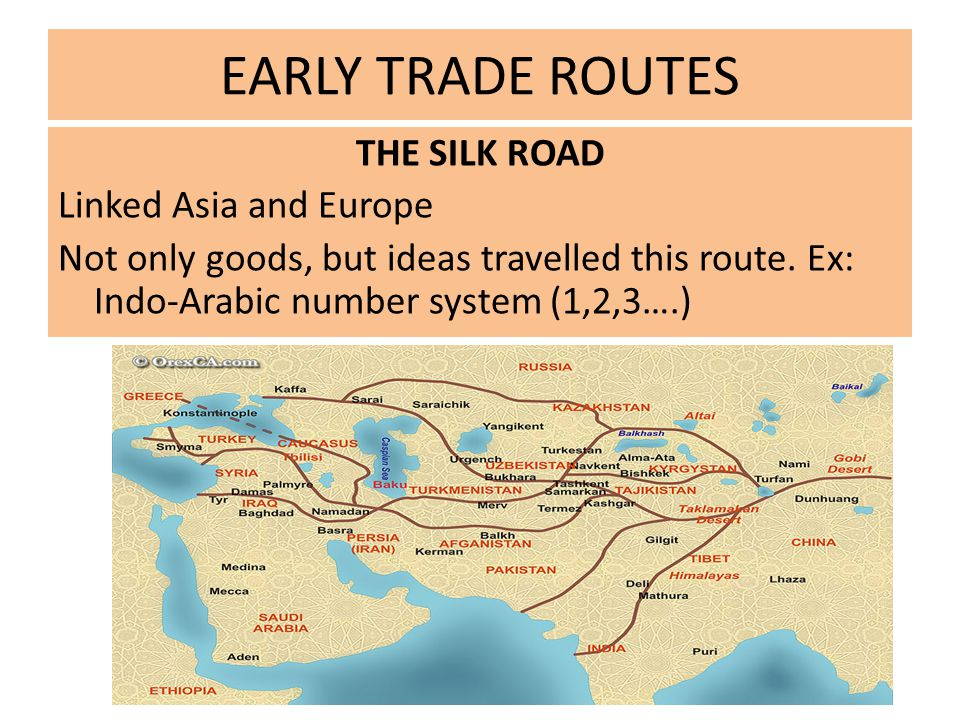 EARLY TRADE ROUTES THE SILK ROAD Linked Asia and Europe Not only goods, but ideas travelled this route.