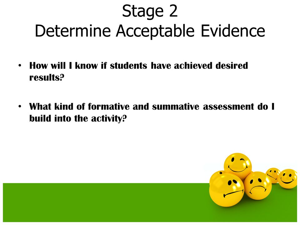 Stage 2 Determine Acceptable Evidence