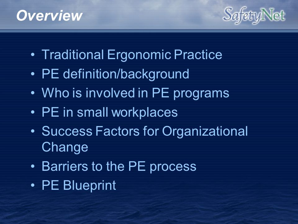 Overview Traditional Ergonomic Practice PE definition/background