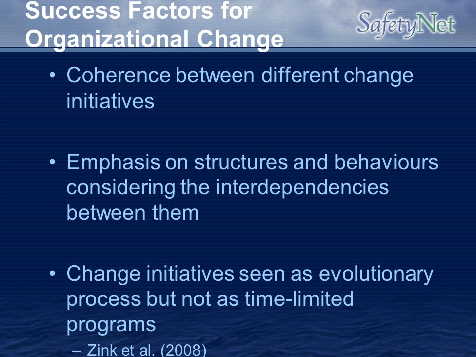 Success Factors for Organizational Change