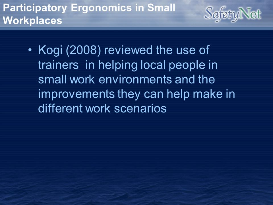 Participatory Ergonomics in Small Workplaces