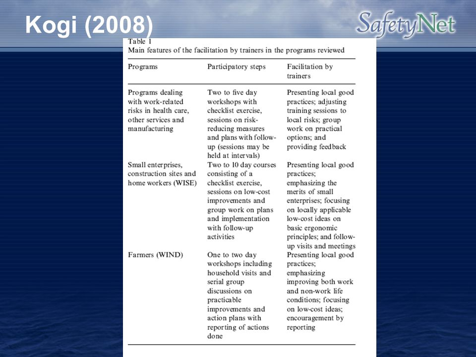 Kogi (2008) Trainers role as facilitator focused on local practical improvements that had real impacts in the workplace.