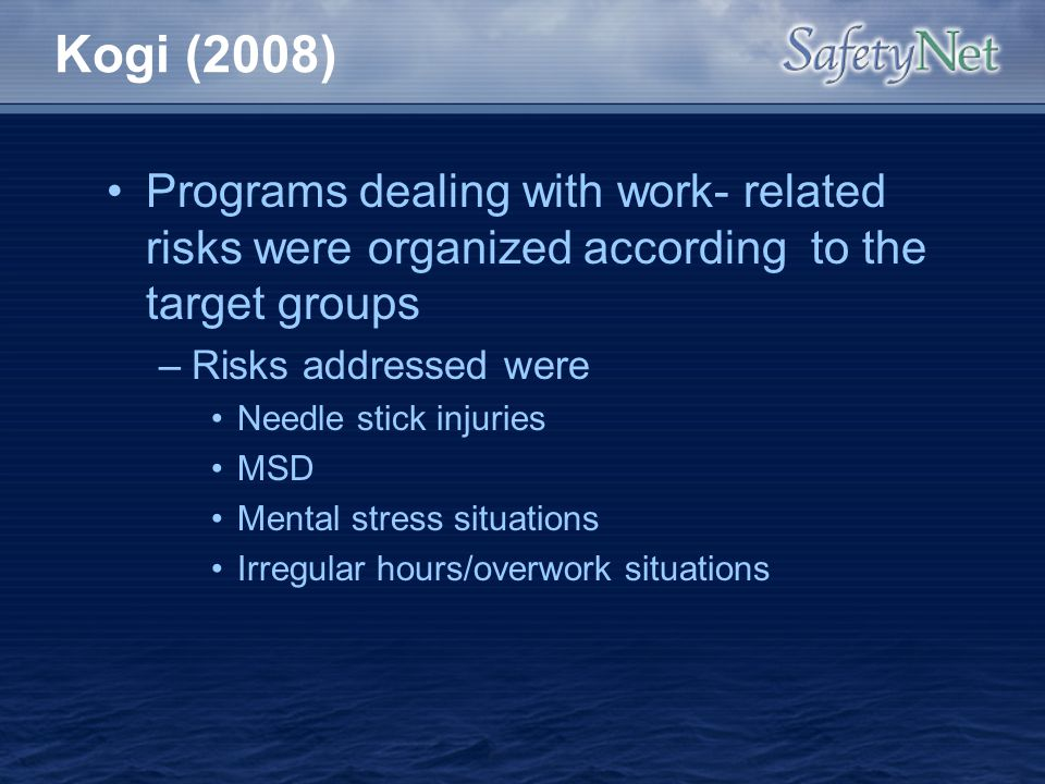Kogi (2008) Programs dealing with work- related risks were organized according to the target groups.