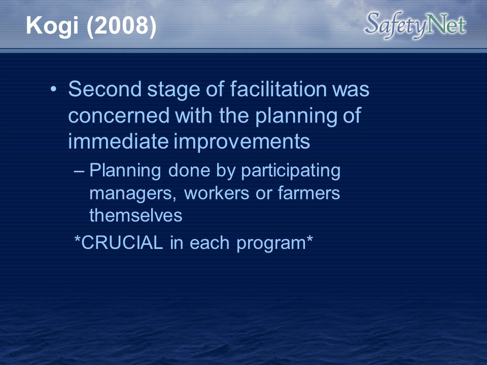 Kogi (2008) Second stage of facilitation was concerned with the planning of immediate improvements.
